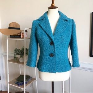 Cabi blue tweed pea coat cropped blazer